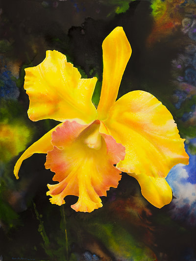 "Ross Barbera, ""Yellow Orchid,"" Mounted Watercolor on Canvas, 42"" x 32"", 2015"