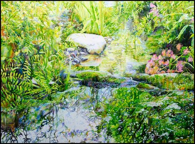 "Ross Barbera, ""Small Stream at Avalon Park,"" Watercolor Mounted on Canvas, 32"" x 42"", 2017"