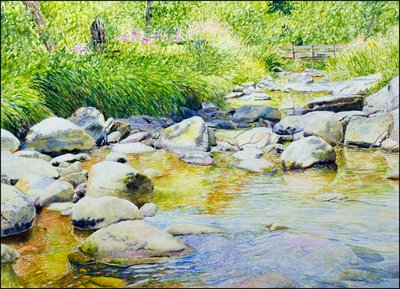 "Ross Barbera, ""August: Kent Falls,"" Watercolor Mounted on Canvas, 22"" x 30"", 2017"