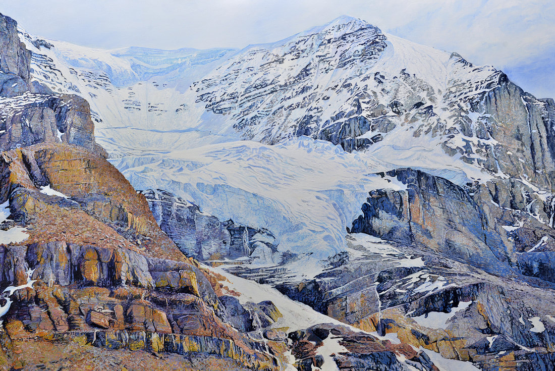"""The Athabasca Glacier, Alberta Canada,"" by Ross Barbera, Acrylic on Canvas, 48"" x 72"", 2016. This painting shows a view of the Athabasca Glacier that I photographed from the Columbia Icefield in Alberta Canada."